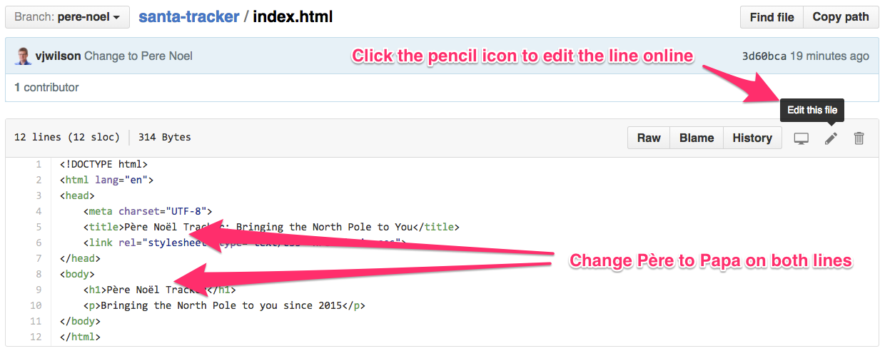Edit the index.html file directly on GitHub