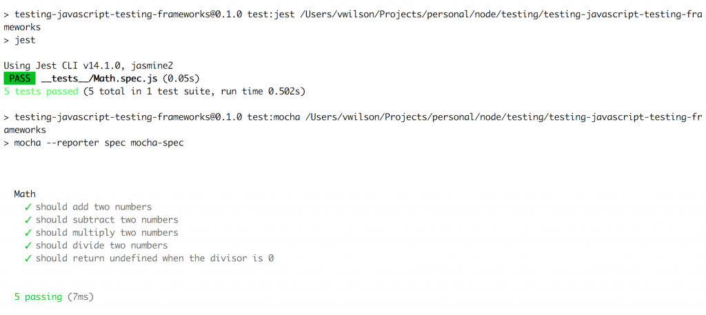 Samples of Jest and Mocha test runs