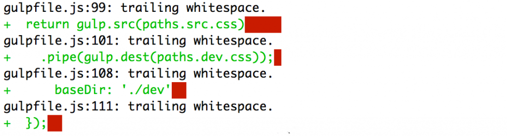 git diff --check showing whitespace errors
